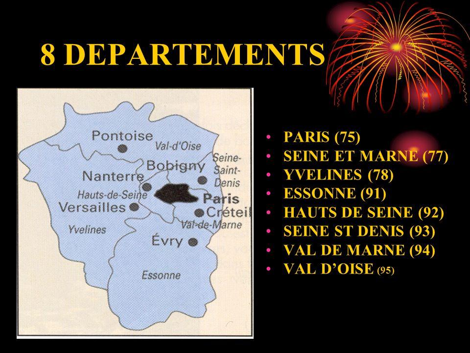8 DEPARTEMENTS PARIS (75) SEINE ET MARNE (77) YVELINES (78) ESSONNE (91) HAUTS DE SEINE (92) SEINE ST DENIS (93) VAL DE MARNE (94) VAL DOISE (95)