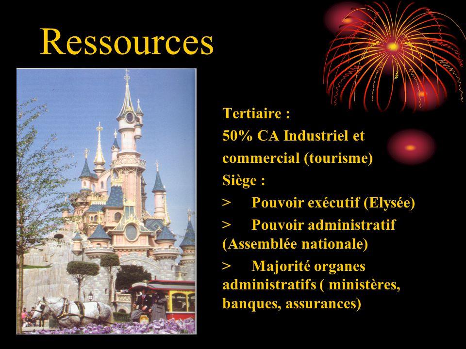 Ressources Tertiaire : 50% CA Industriel et commercial (tourisme) Siège : >Pouvoir exécutif (Elysée) >Pouvoir administratif (Assemblée nationale) >Maj
