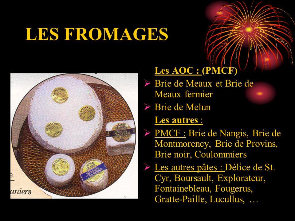 LES FROMAGES Les AOC : (PMCF) Brie de Meaux et Brie de Meaux fermier Brie de Melun Les autres : PMCF : Brie de Nangis, Brie de Montmorency, Brie de Pr
