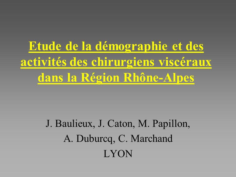 Etude de la démographie et des activités des chirurgiens viscéraux dans la Région Rhône-Alpes J.