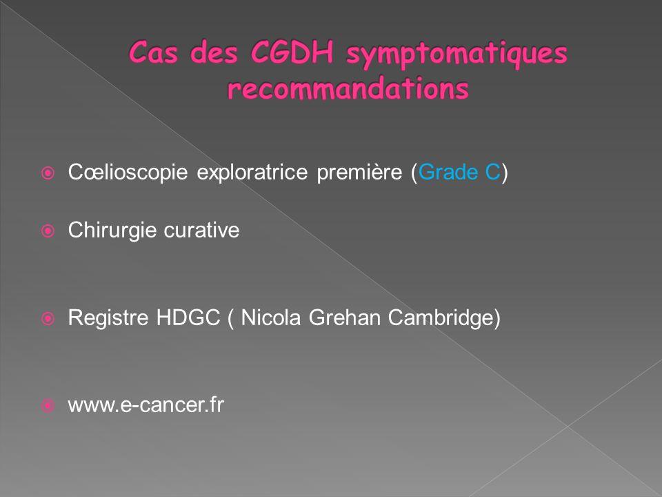 Cœlioscopie exploratrice première (Grade C) Chirurgie curative Registre HDGC ( Nicola Grehan Cambridge) www.e-cancer.fr