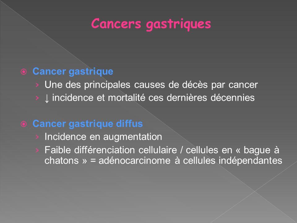 Cancers gastriques Cancer gastrique Une des principales causes de décès par cancer incidence et mortalité ces dernières décennies Cancer gastrique dif