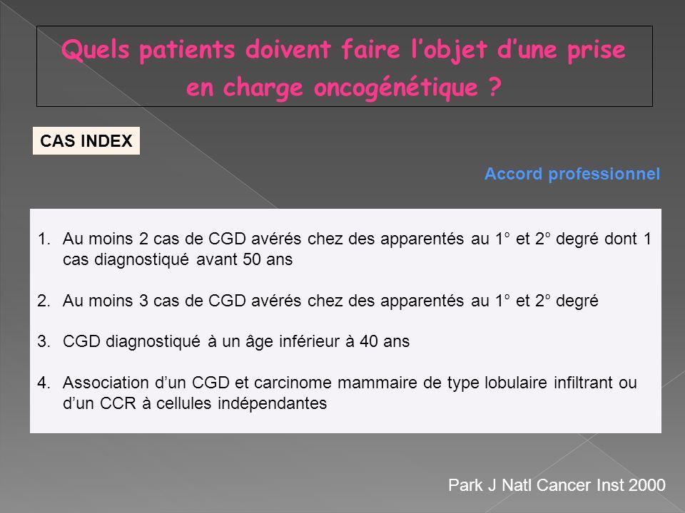 1.Au moins 2 cas de CGD avérés chez des apparentés au 1° et 2° degré dont 1 cas diagnostiqué avant 50 ans 2.Au moins 3 cas de CGD avérés chez des appa