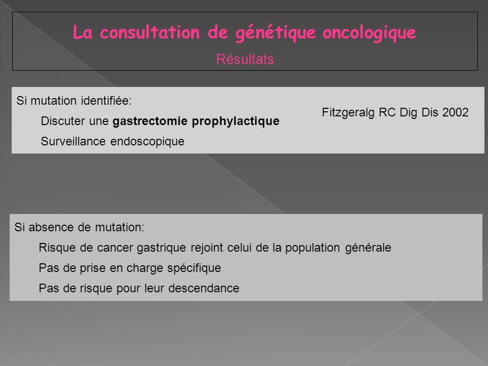 Si mutation identifiée: Discuter une gastrectomie prophylactique Surveillance endoscopique La consultation de génétique oncologique Résultats Si absen