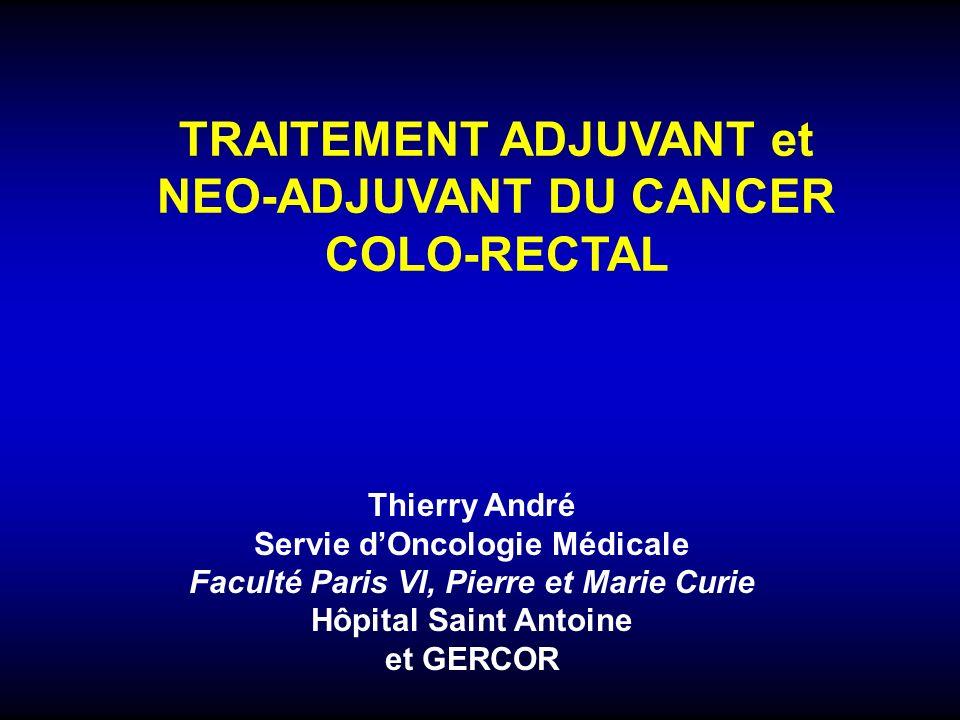 MRC : marge de résection circonférentielleRT : radiothérapie ECM : exérèse complète du mésorectumRCT : radio-chimiothérapie avec 5FU ou capécitabine pT1-2N0 ypT0-2N0 pT3N0 ypT3-4N0 pT1-2N1 Surveillance Surveillance : MSI, T3 sans facteur de risque et 5FU ou capécitabine +/-oxaliplatine : T4, engainement péri-nerveux, emboles vasculaires ou lymphatiques, N+ très probable sur bilan initial, tumeur peu différenciée Oxaliplatine + 5FU ou capécitabine Avis dexpert 5FU ou capécitabine pT3-4N1 pTx-N2 ypTx-N1/N2 Chirurgie avec ECM – résection R0 Evaluation du stade pré-opératoire : Toucher rectal, IRM, TDM, +/- Echoendoscopie T1-2N0 T3N0 et MRC > 1 mm T1-4 N+ T3T4N0 et MRC < 1 mm Option: RT 25 Gy ou RCT (5FU ou capécitabine) ou chirurgie directe RCT (5FU ou capécitabine) Nos Recommandations Bachet JB et al, Bull Cancer.