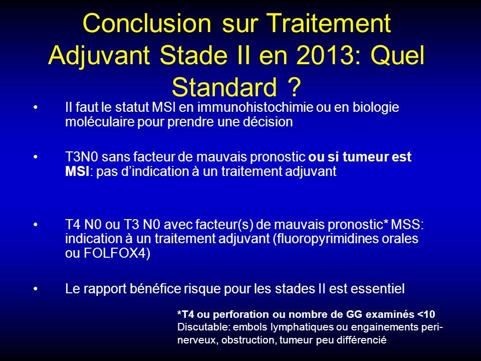 Conclusion sur Traitement Adjuvant Stade II en 2013: Quel Standard ? Il faut le statut MSI en immunohistochimie ou en biologie moléculaire pour prendr