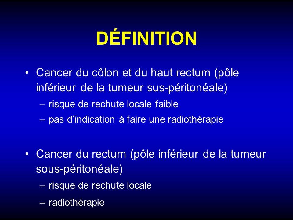 DÉFINITION Cancer du côlon et du haut rectum (pôle inférieur de la tumeur sus-péritonéale) –risque de rechute locale faible –pas dindication à faire u
