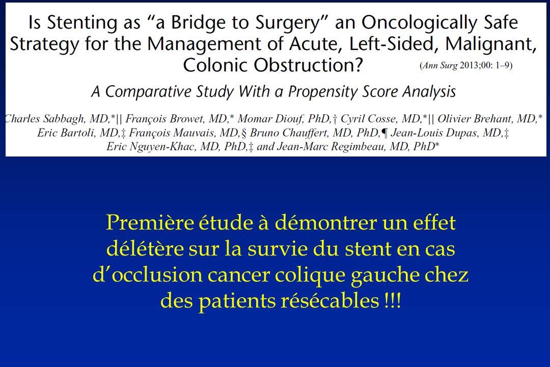 Première étude à démontrer un effet délétère sur la survie du stent en cas docclusion cancer colique gauche chez des patients résécables !!!
