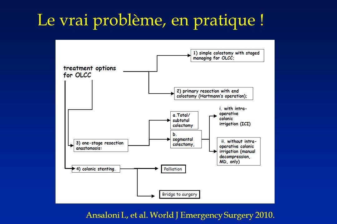 Ansaloni L, et al. World J Emergency Surgery 2010. Le vrai problème, en pratique !