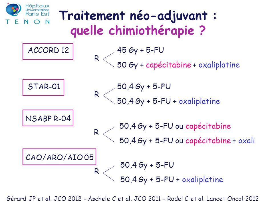 ACCORD 1245 Gy + 5-FU 50 Gy + capécitabine + oxaliplatine Traitement néo-adjuvant : quelle chimiothérapie ? R Gérard JP et al. JCO 2012 - Aschele C et