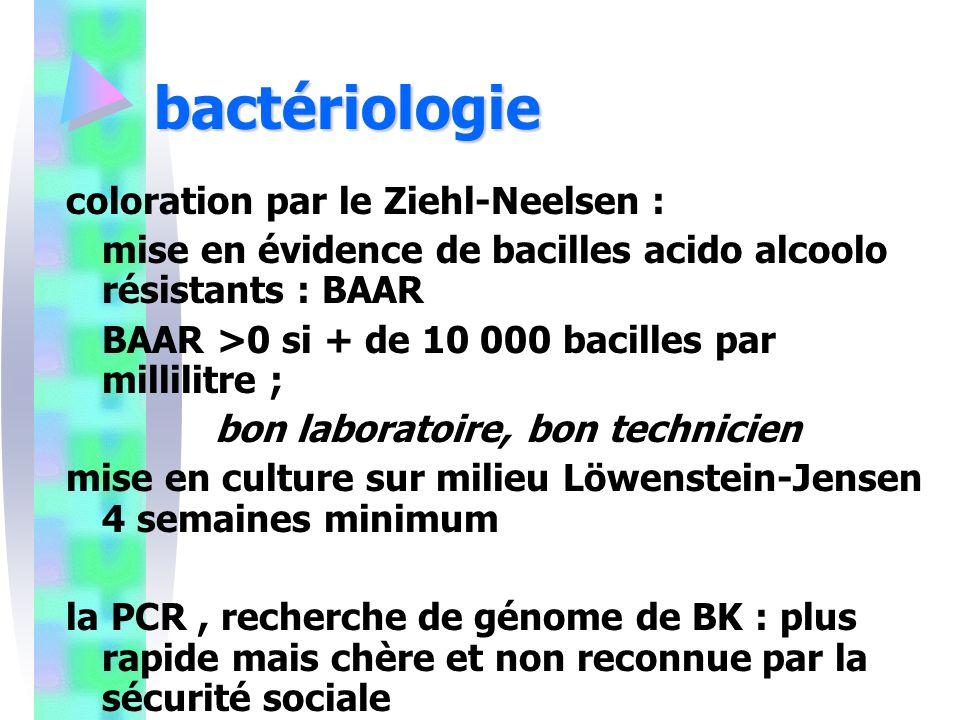 bactériologie coloration par le Ziehl-Neelsen : mise en évidence de bacilles acido alcoolo résistants : BAAR BAAR >0 si + de 10 000 bacilles par millilitre ; bon laboratoire, bon technicien mise en culture sur milieu Löwenstein-Jensen 4 semaines minimum la PCR, recherche de génome de BK : plus rapide mais chère et non reconnue par la sécurité sociale