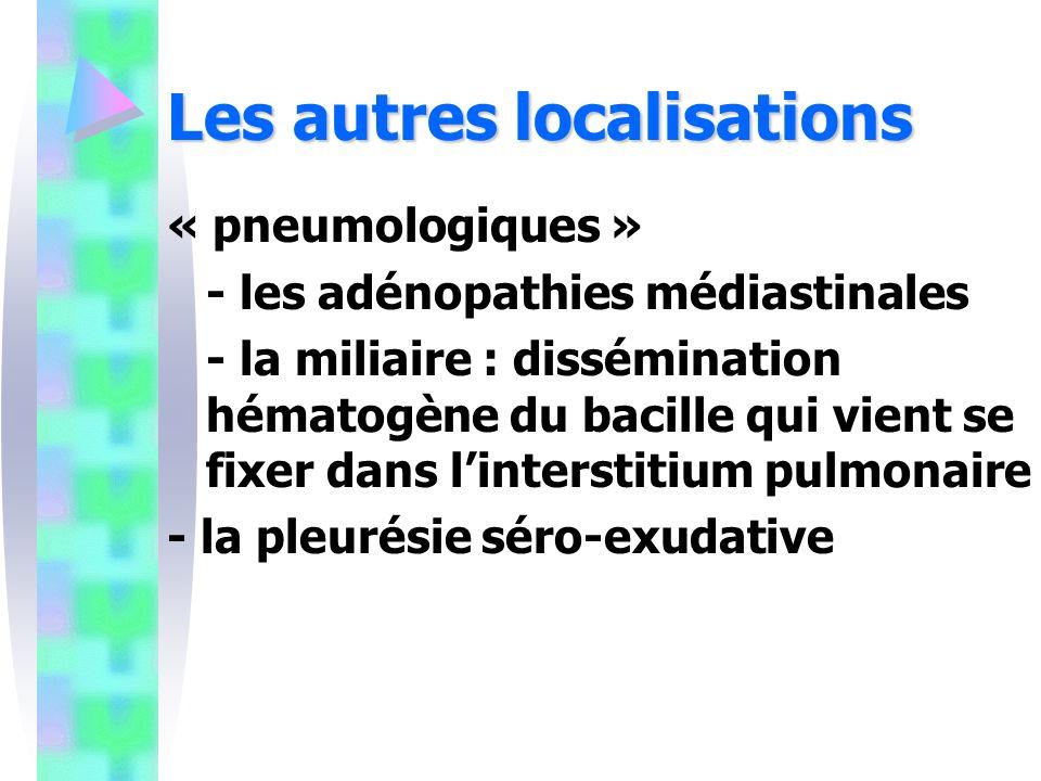 Les autres localisations « pneumologiques » - les adénopathies médiastinales - la miliaire : dissémination hématogène du bacille qui vient se fixer dans linterstitium pulmonaire - la pleurésie séro-exudative