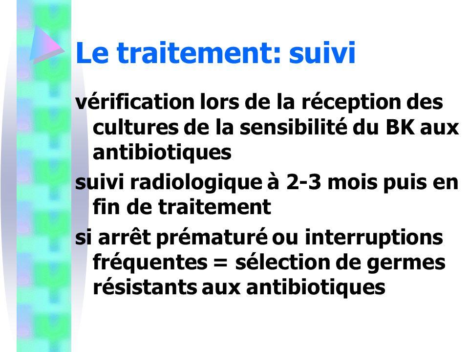 Le traitement: suivi vérification lors de la réception des cultures de la sensibilité du BK aux antibiotiques suivi radiologique à 2-3 mois puis en fin de traitement si arrêt prématuré ou interruptions fréquentes = sélection de germes résistants aux antibiotiques
