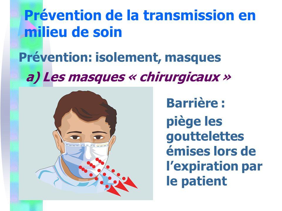 Prévention de la transmission en milieu de soin Prévention: isolement, masques a) Les masques « chirurgicaux » Barrière : piège les gouttelettes émises lors de lexpiration par le patient