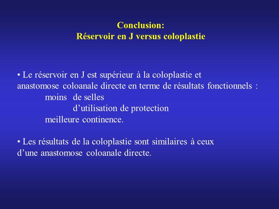 Le réservoir en J est supérieur à la coloplastie et anastomose coloanale directe en terme de résultats fonctionnels : moins de selles dutilisation de