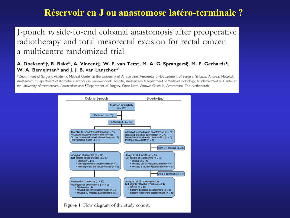 Réservoir en J ou anastomose latéro-terminale ?