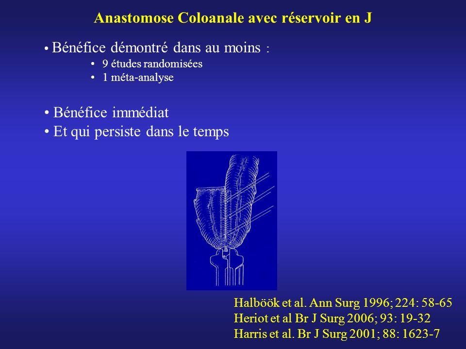 Anastomose Coloanale avec réservoir en J Bénéfice démontré dans au moins : 9 études randomisées 1 méta-analyse Bénéfice immédiat Et qui persiste dans