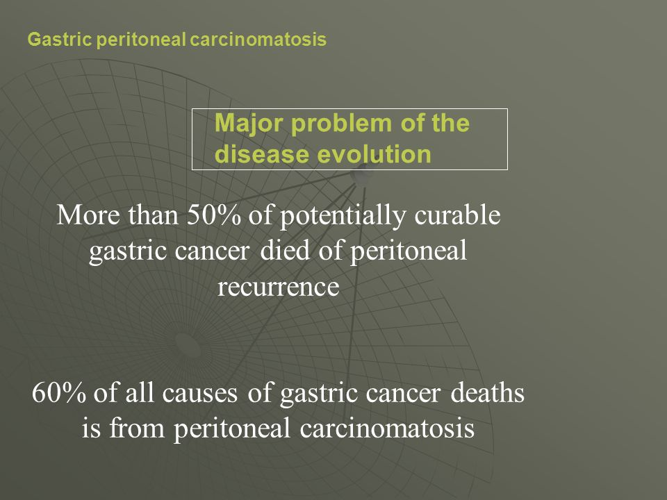 Gastric peritoneal carcinomatosis Major problem of the disease evolution More than 50% of potentially curable gastric cancer died of peritoneal recurr