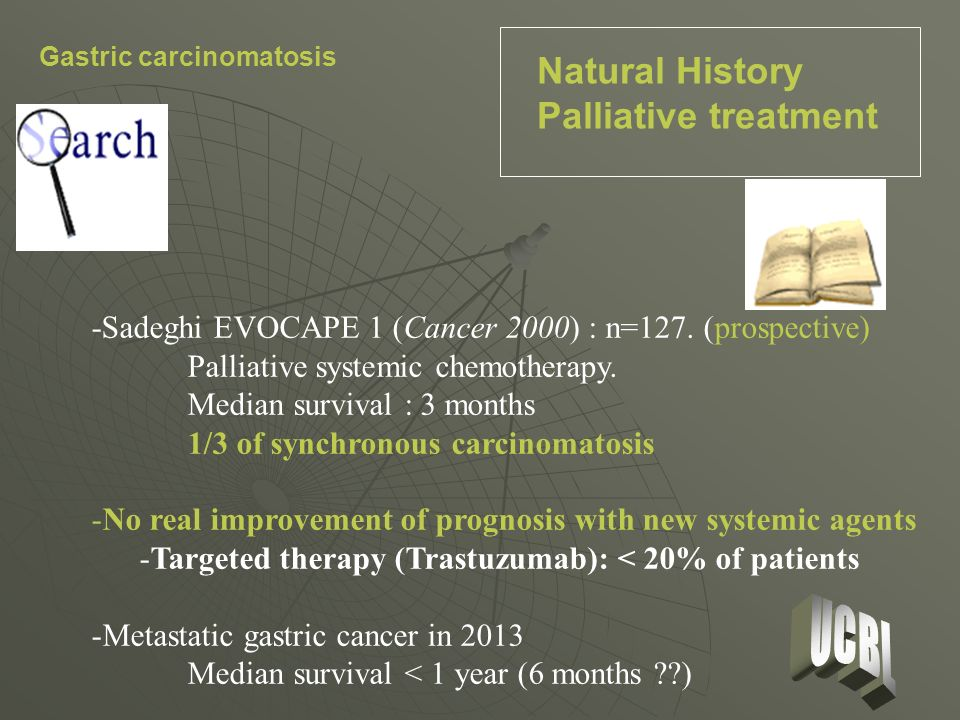Criteria of inclusion Gastric carcinoma with moderate PC (PCI 12), synchronous and resectable