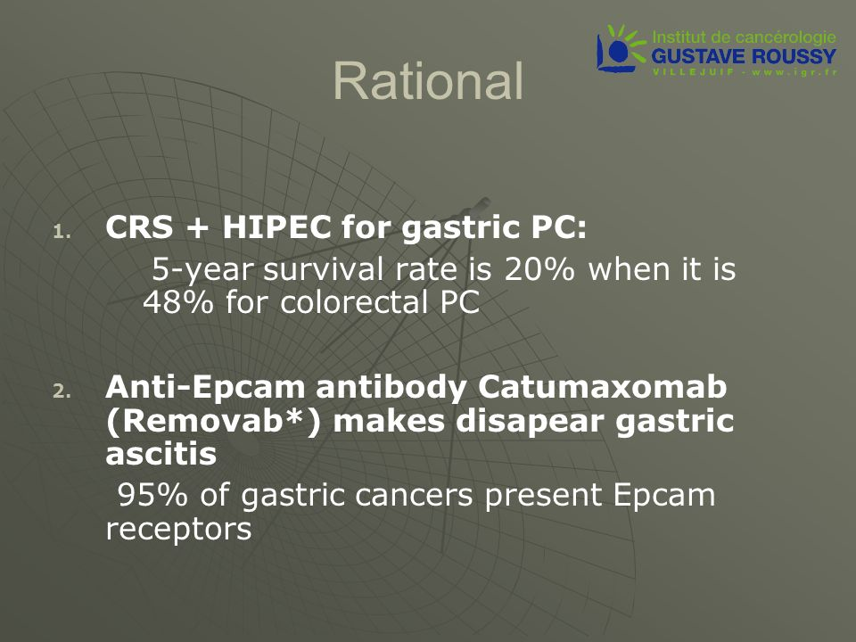 Rational 1. 1. CRS + HIPEC for gastric PC: 5-year survival rate is 20% when it is 48% for colorectal PC 2. 2. Anti-Epcam antibody Catumaxomab (Removab