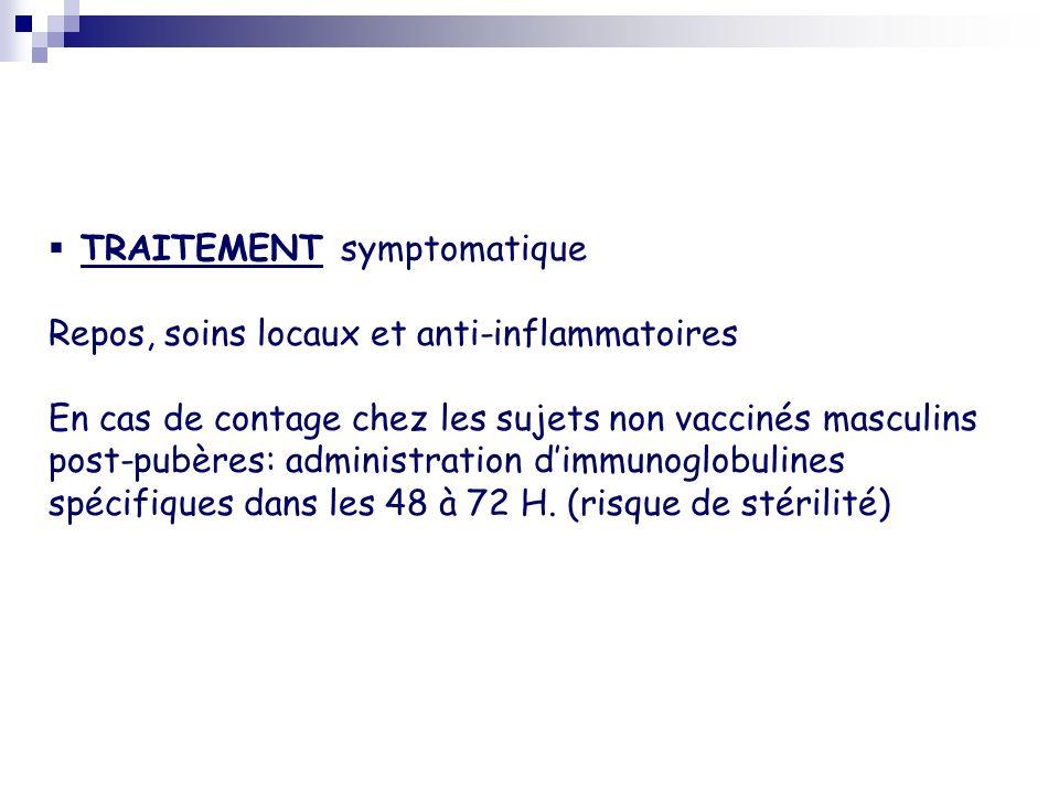 TRAITEMENT symptomatique Repos, soins locaux et anti-inflammatoires En cas de contage chez les sujets non vaccinés masculins post-pubères: administrat