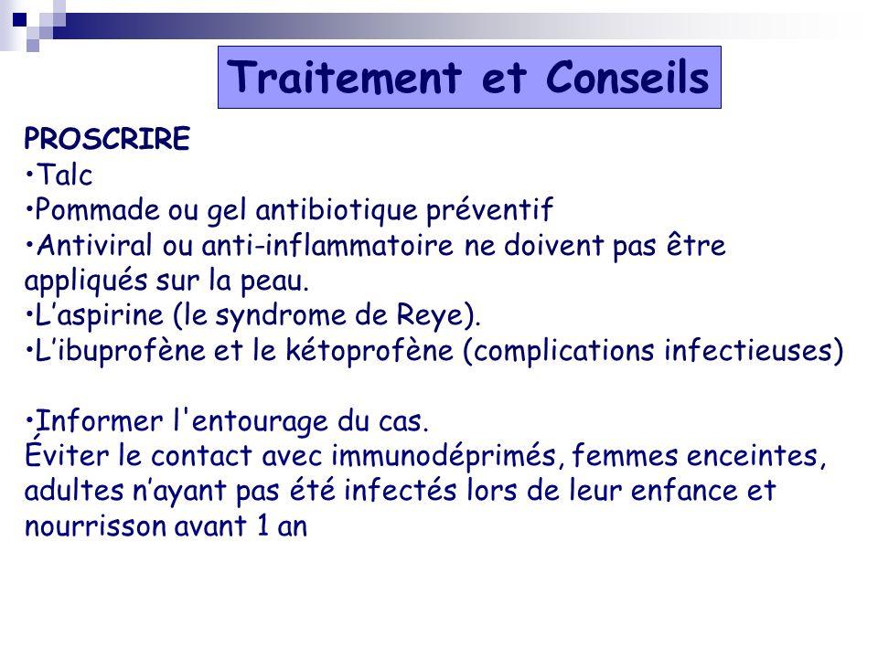 PROSCRIRE Talc Pommade ou gel antibiotique préventif Antiviral ou anti-inflammatoire ne doivent pas être appliqués sur la peau. Laspirine (le syndrome