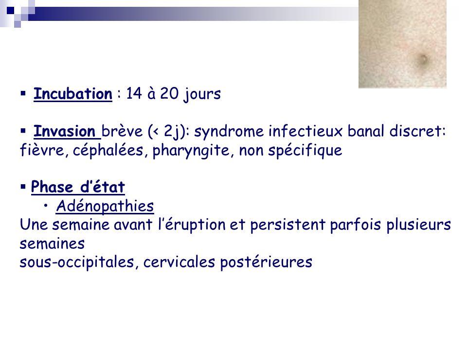 Eruption rubéolique - 16 jours après le contage - Débute sur le visage puis sétend à tout le corps en qq heures - Exanthème maculeux non prurigineux - Aspect morbiliforme (J1) puis confluence des lésions, aspect scarlatiniforme (J2) et disparition sans séquelles (J3) - Fièvre inconstante, modérée (moins de 39°C) J2-J3 - NFS: leucopénie et Plasmocytose caractéristique mais inconstante