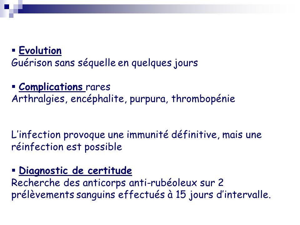 Evolution Guérison sans séquelle en quelques jours Complications rares Arthralgies, encéphalite, purpura, thrombopénie Linfection provoque une immunit