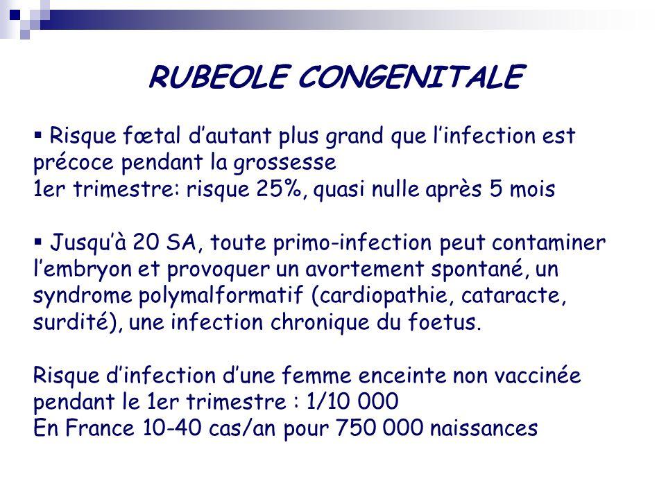 RUBEOLE CONGENITALE Malformations Oculaires (cataracte, glaucome, microphtalmie...), auditives (surdité), cardiaques, neurologiques (microcéphalie, retard mental), dentaires (hypoplasie, agénésie), génito-urinaires syndactylie Rubéole congénitale évolutive - Hypotrophie - Hémato: purpura thrombopénique, anémie hémolytique, - Pulmonaire: pneumopathie interstitielle - Hépatique: ictère, hépatosplénomégalie - Neurologique: méningo-encéphalite, troubles du comportement et du sommeil, convulsions - anomalies osseuses, adénopathies,