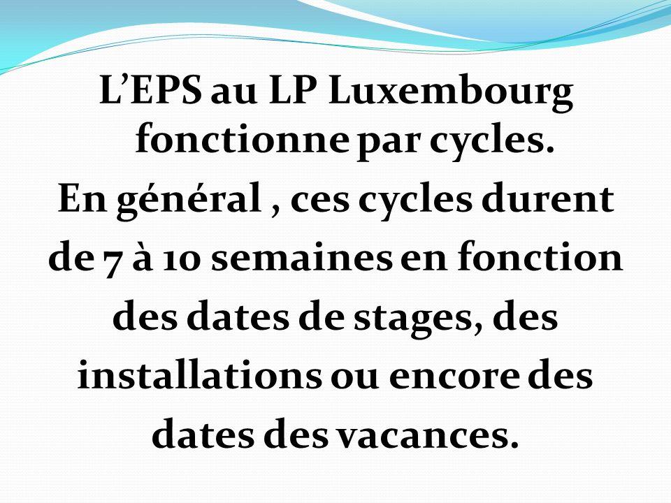 LEPS au LP Luxembourg fonctionne par cycles. En général, ces cycles durent de 7 à 10 semaines en fonction des dates de stages, des installations ou en