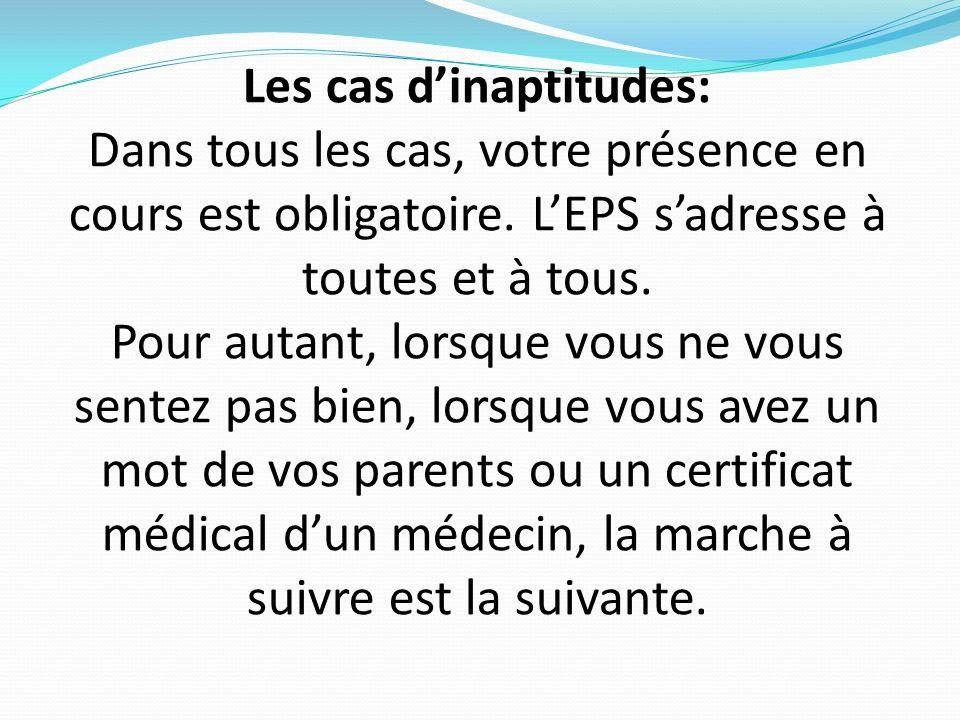 Visa InfirmerieVisa CPE LP Luxembourg : fiche dinaptitude en EPS (A rendre au professeur dEPS lorsque la fiche a été visée par linfirmière et le CPE) NOM de lélève : Prénom de lélève : Classe de lélève : Professeur dEPS de lélève : Inaptitude en EPS : PartielleTotale CM (Certificat médical)LP (lettre des parents)AI (autorisation de linfirmière) Ponctuelle le : Temporaire du :au : Annuelle : Présence en cours : ObligatoireAbsent en cours (présence en salle de permanence) Date :
