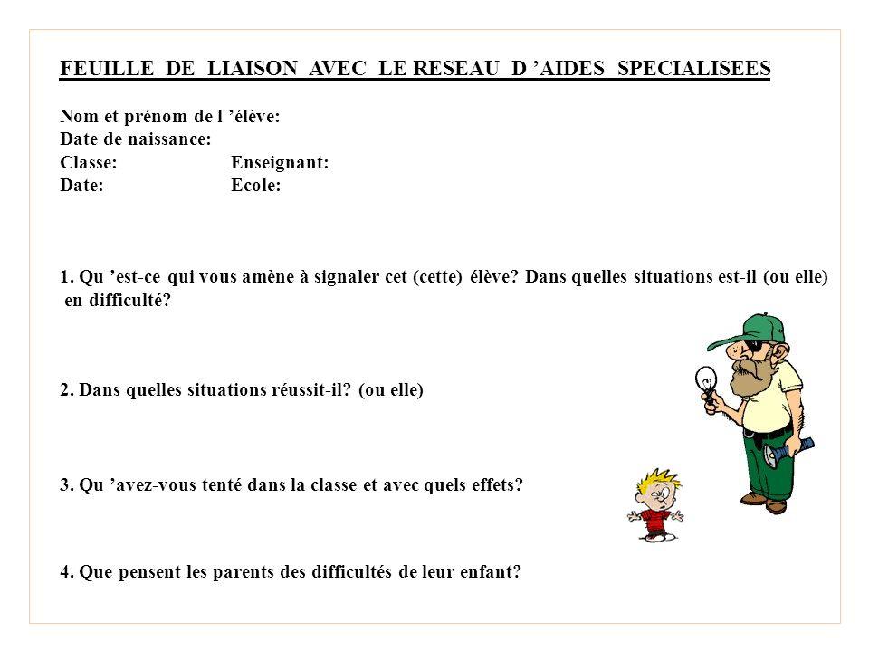 FEUILLE DE LIAISON AVEC LE RESEAU D AIDES SPECIALISEES Nom et prénom de l élève: Date de naissance: Classe:Enseignant: Date:Ecole: 1.