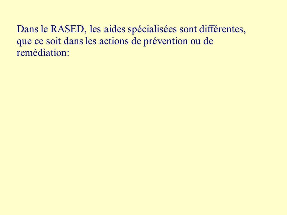 Dans le RASED, les aides spécialisées sont différentes, que ce soit dans les actions de prévention ou de remédiation: