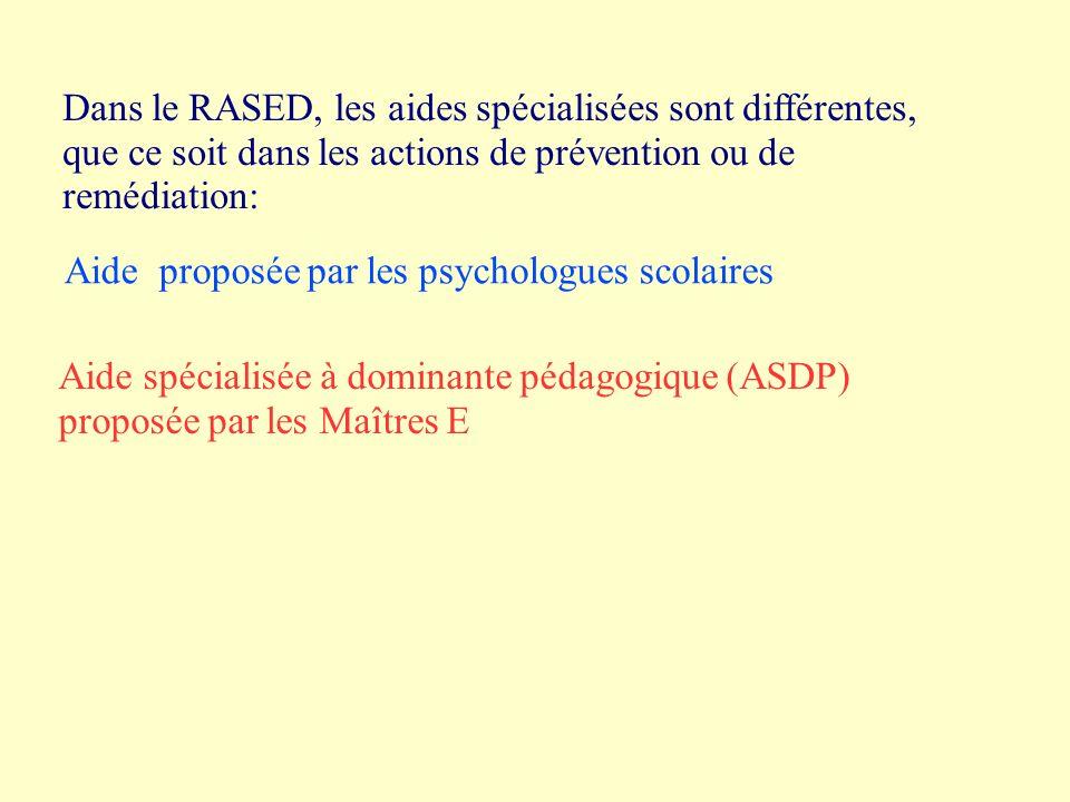 Dans le RASED, les aides spécialisées sont différentes, que ce soit dans les actions de prévention ou de remédiation: Aide proposée par les psychologues scolaires Aide spécialisée à dominante pédagogique (ASDP) proposée par les Maîtres E