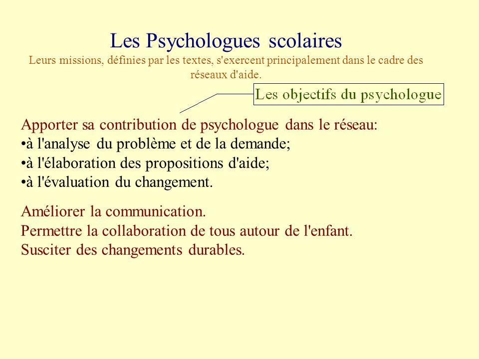 Les Psychologues scolaires Leurs missions, définies par les textes, s exercent principalement dans le cadre des réseaux d aide.