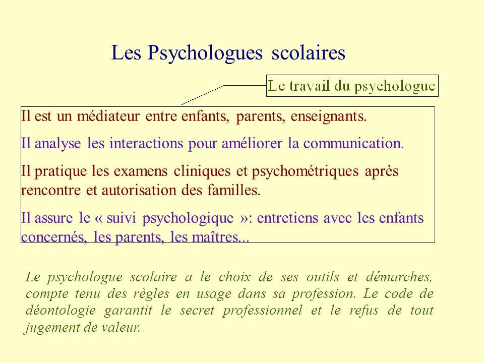 Les Psychologues scolaires Il est un médiateur entre enfants, parents, enseignants.
