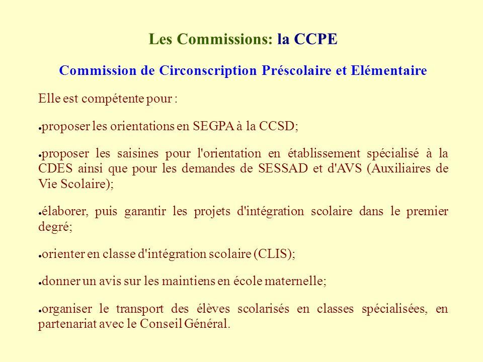 Les Commissions: la CCPE Commission de Circonscription Préscolaire et Elémentaire Elle est compétente pour : proposer les orientations en SEGPA à la CCSD; proposer les saisines pour l orientation en établissement spécialisé à la CDES ainsi que pour les demandes de SESSAD et d AVS (Auxiliaires de Vie Scolaire); élaborer, puis garantir les projets d intégration scolaire dans le premier degré; orienter en classe d intégration scolaire (CLIS); donner un avis sur les maintiens en école maternelle; organiser le transport des élèves scolarisés en classes spécialisées, en partenariat avec le Conseil Général.