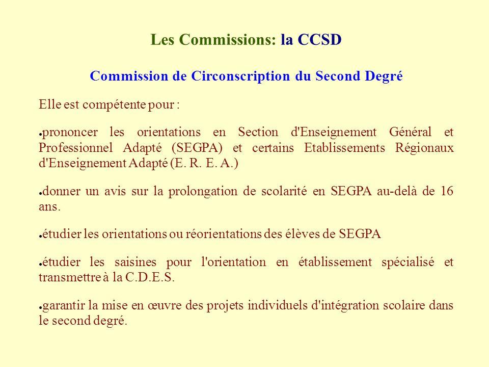 Les Commissions: la CCSD Commission de Circonscription du Second Degré Elle est compétente pour : prononcer les orientations en Section d Enseignement Général et Professionnel Adapté (SEGPA) et certains Etablissements Régionaux d Enseignement Adapté (E.