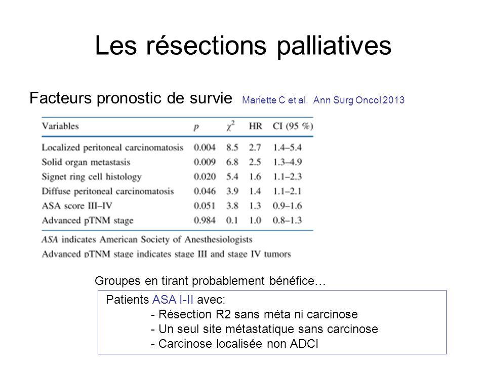 Les résections palliatives Facteurs pronostic de survie Mariette C et al. Ann Surg Oncol 2013 Groupes en tirant probablement bénéfice… Patients ASA I-