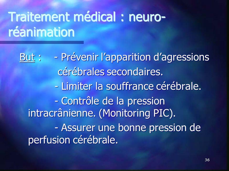 35 Traitement du traumatisme crânien grave. 2 versants complémentaires. 2 versants complémentaires. Traitement chirurgical : adapté à chaque type de l