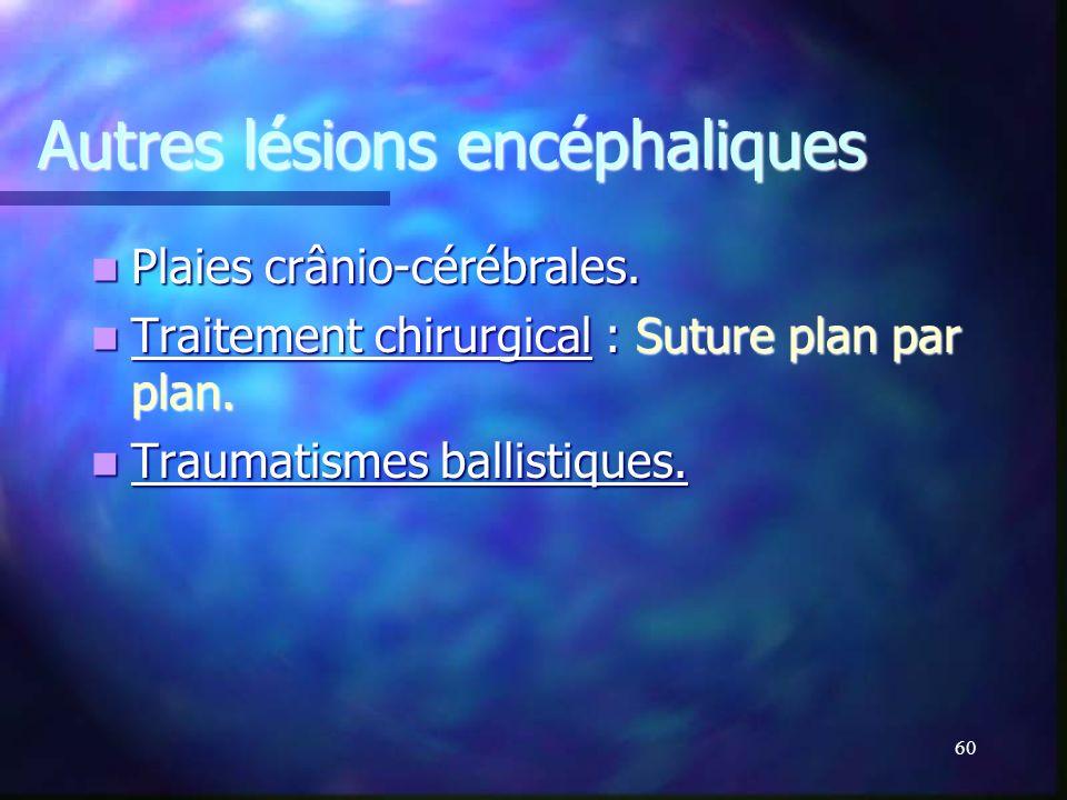 59 Lésion encéphalique secondaire Lésion encéphalique secondaire Œdème cérébral. Œdème cérébral. Hypertension intracrânienne. Hypertension intracrânie
