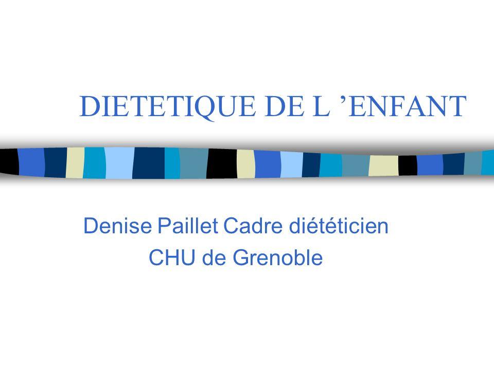 DIETETIQUE DE L ENFANT Denise Paillet Cadre diététicien CHU de Grenoble