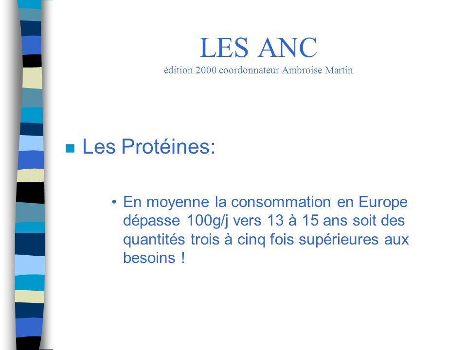 n Les Protéines: En moyenne la consommation en Europe dépasse 100g/j vers 13 à 15 ans soit des quantités trois à cinq fois supérieures aux besoins ! L