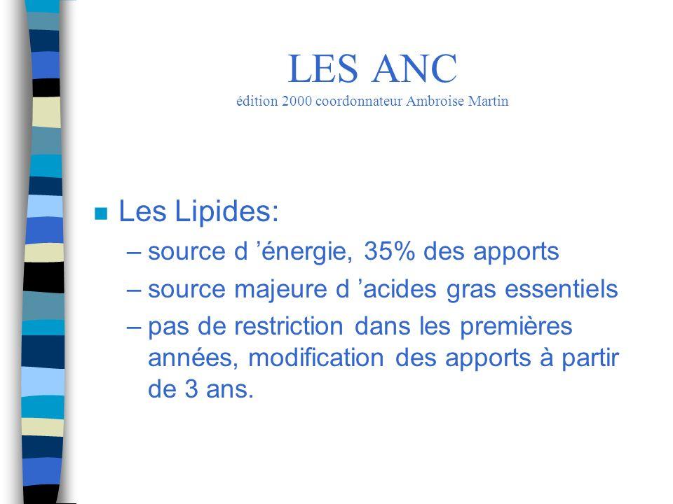 n Les Lipides: –source d énergie, 35% des apports –source majeure d acides gras essentiels –pas de restriction dans les premières années, modification