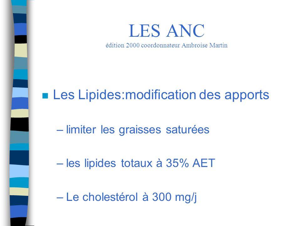 n Les Lipides:modification des apports –limiter les graisses saturées –les lipides totaux à 35% AET –Le cholestérol à 300 mg/j LES ANC édition 2000 co
