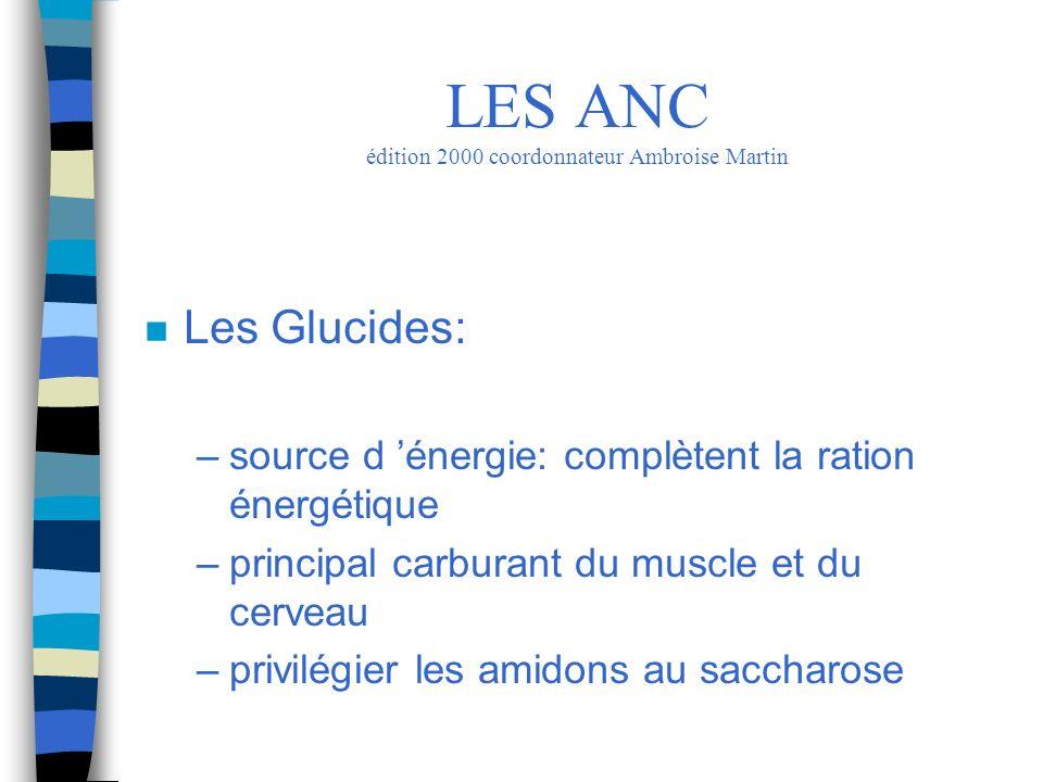 n Les Glucides: –source d énergie: complètent la ration énergétique –principal carburant du muscle et du cerveau –privilégier les amidons au saccharos