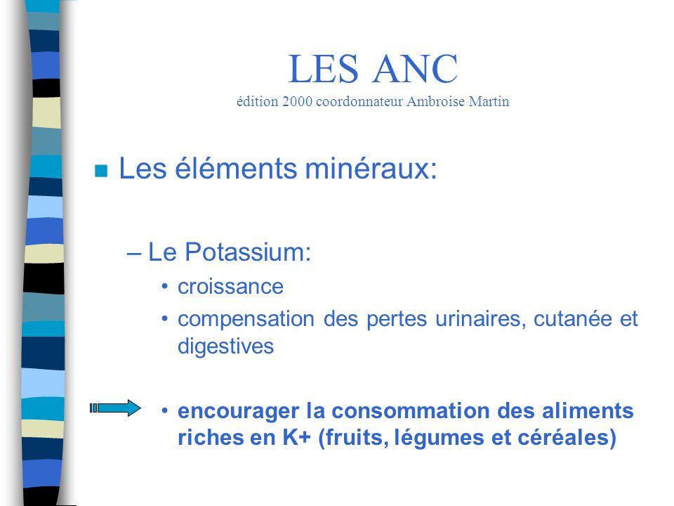 n Les éléments minéraux: –Le Potassium: croissance compensation des pertes urinaires, cutanée et digestives encourager la consommation des aliments ri