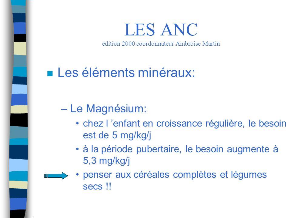 n Les éléments minéraux: –Le Magnésium: chez l enfant en croissance régulière, le besoin est de 5 mg/kg/j à la période pubertaire, le besoin augmente