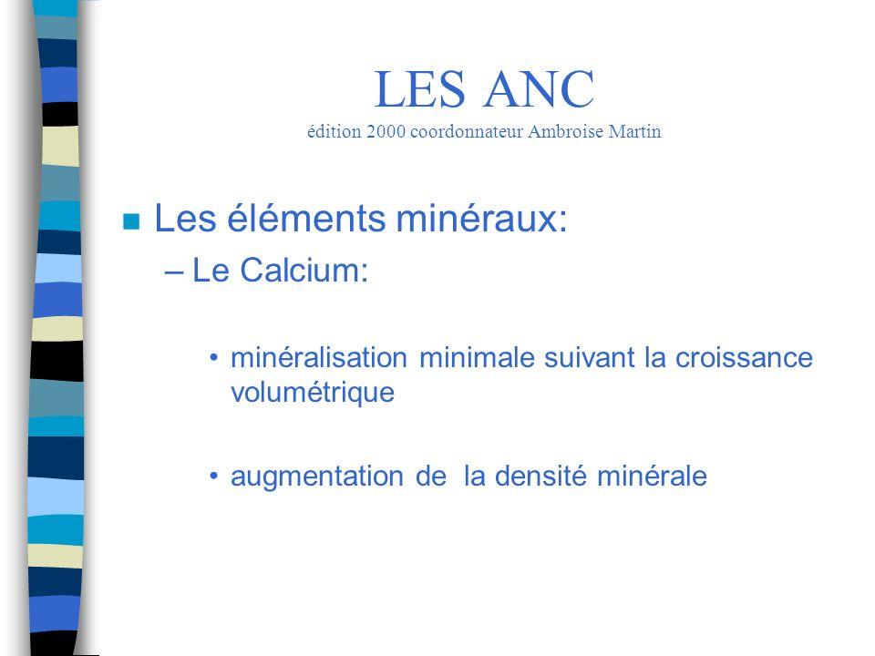 n Les éléments minéraux: –Le Calcium: minéralisation minimale suivant la croissance volumétrique augmentation de la densité minérale LES ANC édition 2