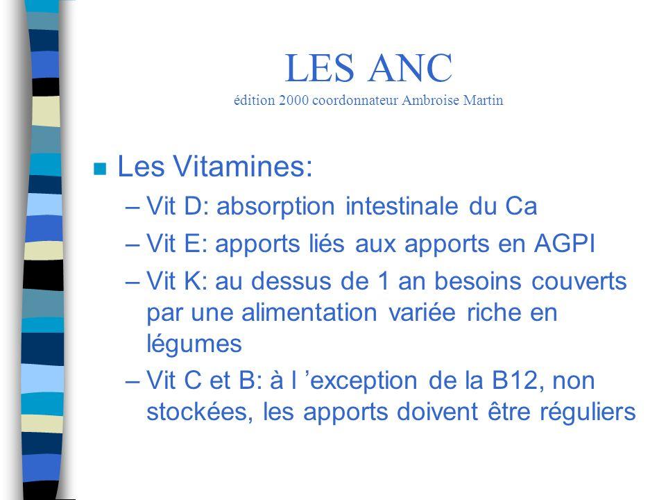 n Les Vitamines: –Vit D: absorption intestinale du Ca –Vit E: apports liés aux apports en AGPI –Vit K: au dessus de 1 an besoins couverts par une alim